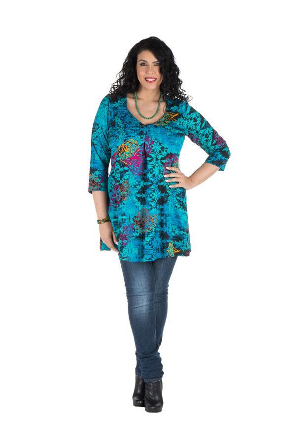 Tunique grande taille à manches trois quarts Turquoise féminine avec motifs originaux Hanaé 300414