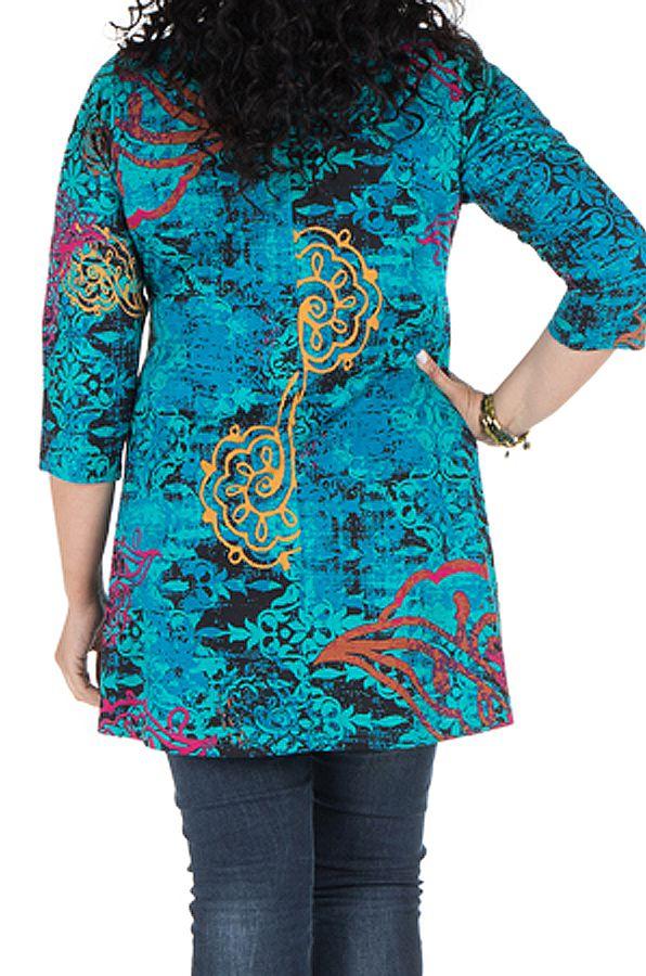 Tunique grande taille à manches trois quarts Turquoise féminine avec motifs originaux Hanaé 300415