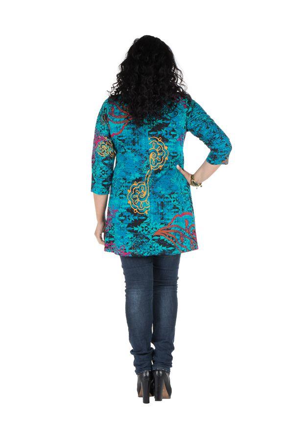 Tunique grande taille à manches trois quarts Turquoise féminine avec motifs originaux Hanaé 300417
