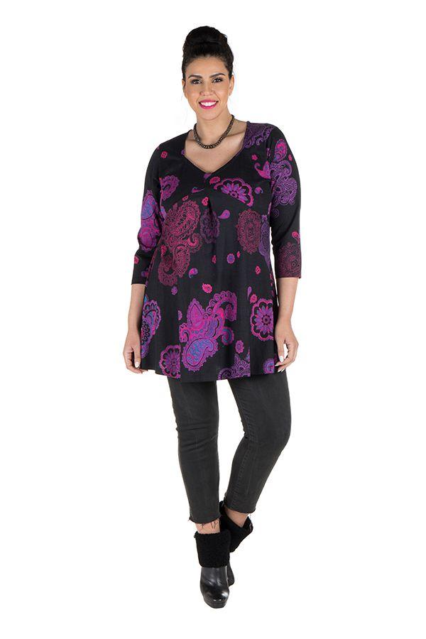 Tunique grande taille à manches trois quarts Violette effet drapé avec imprimés tendances Idriss 300425