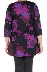Tunique grande taille à manches trois quarts Violette effet drapé avec imprimés tendances Idriss 300426