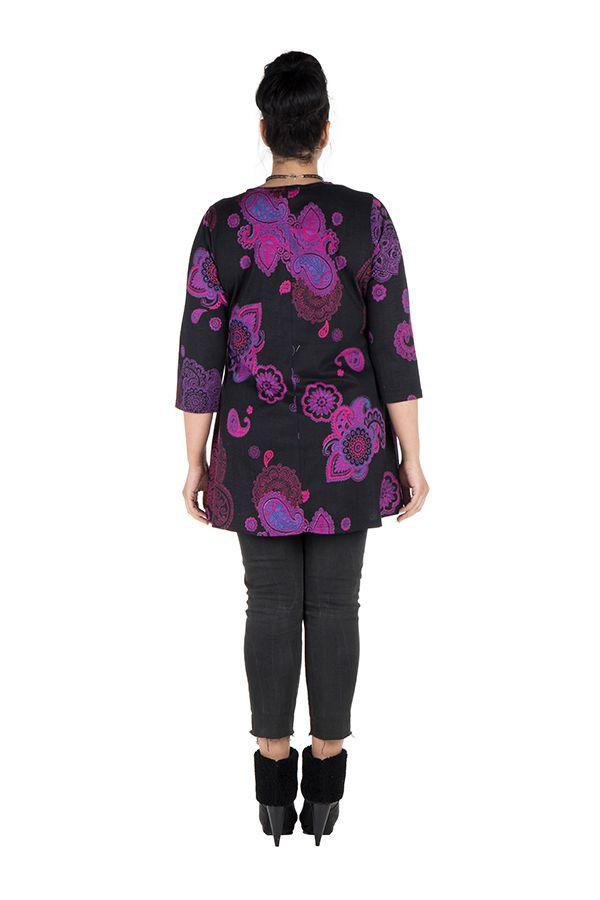 Tunique grande taille à manches trois quarts Violette effet drapé avec imprimés tendances Idriss 300427
