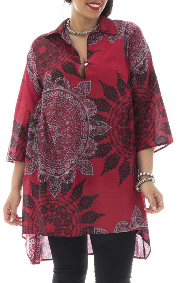 Tunique grande taille ample avec col chemise rouge Théodora 292452