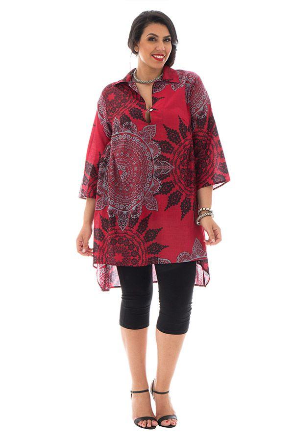 Tunique grande taille ample avec col chemise rouge Théodora 292487