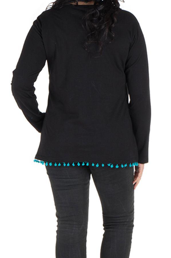 Tunique grande taille avec pompons à manches longues Noire Philippe 302117