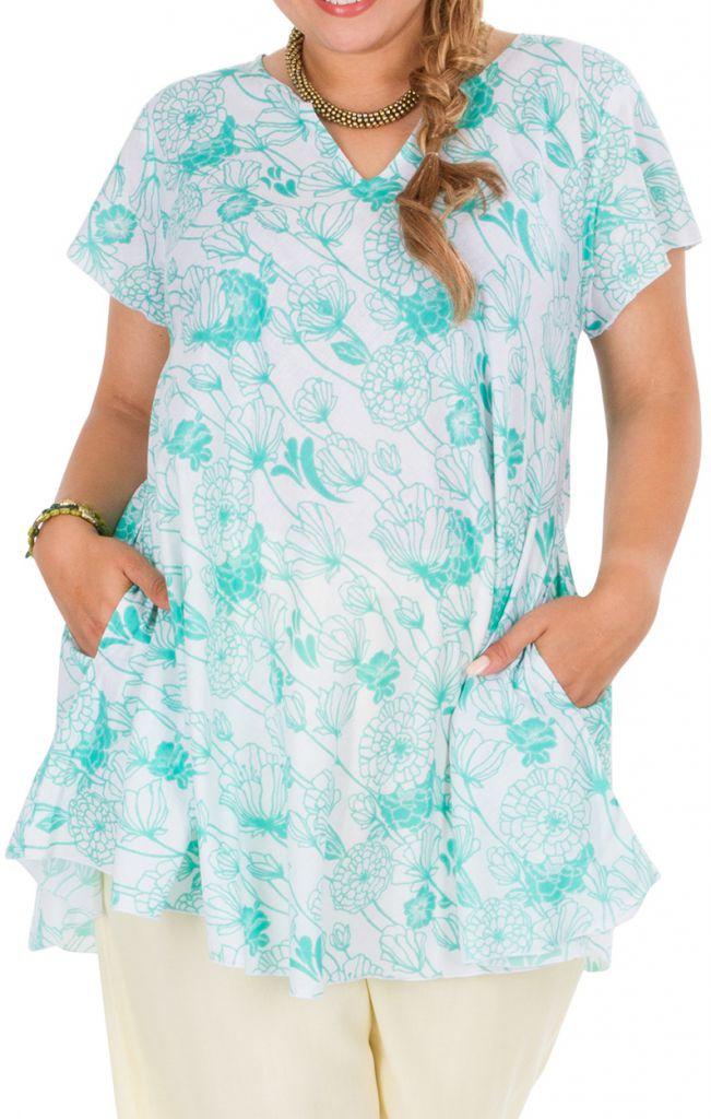 Tunique grande taille avec un imprimé pastel de fleurs Aines 306357