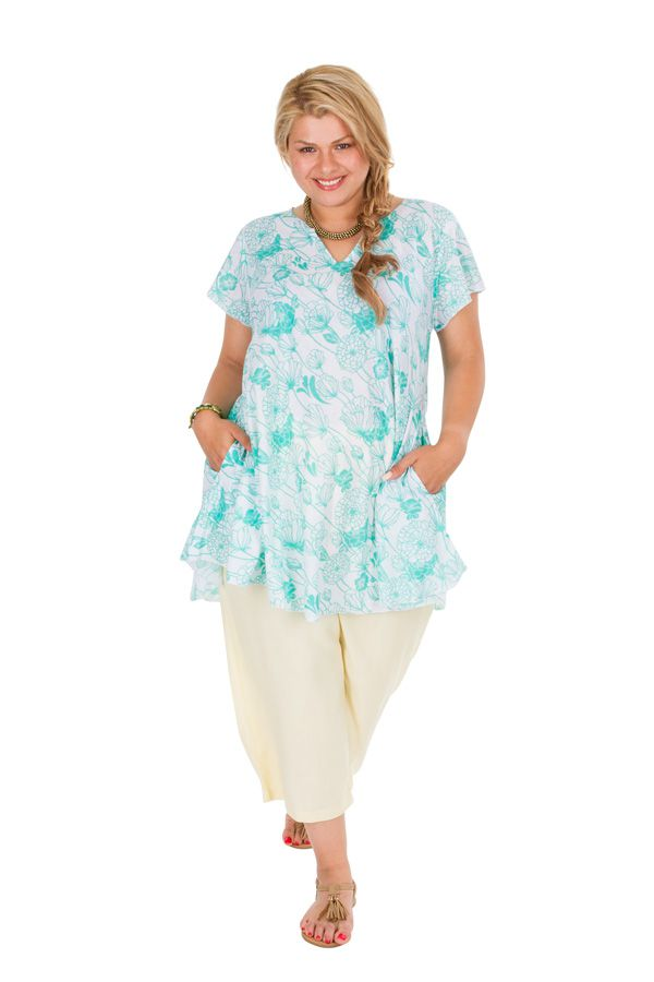 Tunique grande taille avec un imprimé pastel de fleurs Aines 306358