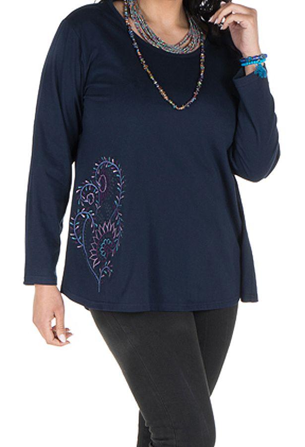 Tunique grande taille Bleue à manches longues sobre et élégante avec col rond Bouma 299972