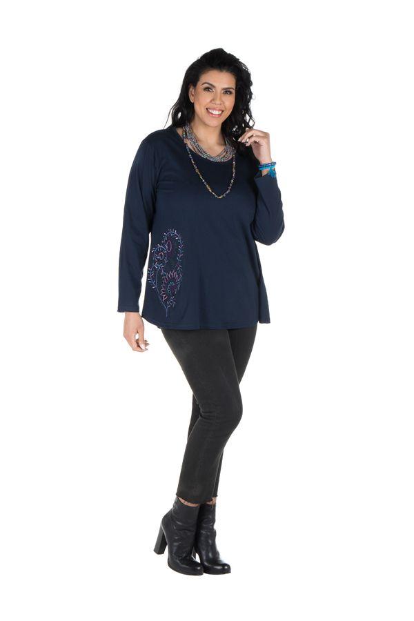 Tunique grande taille Bleue à manches longues sobre et élégante avec col rond Bouma 299973
