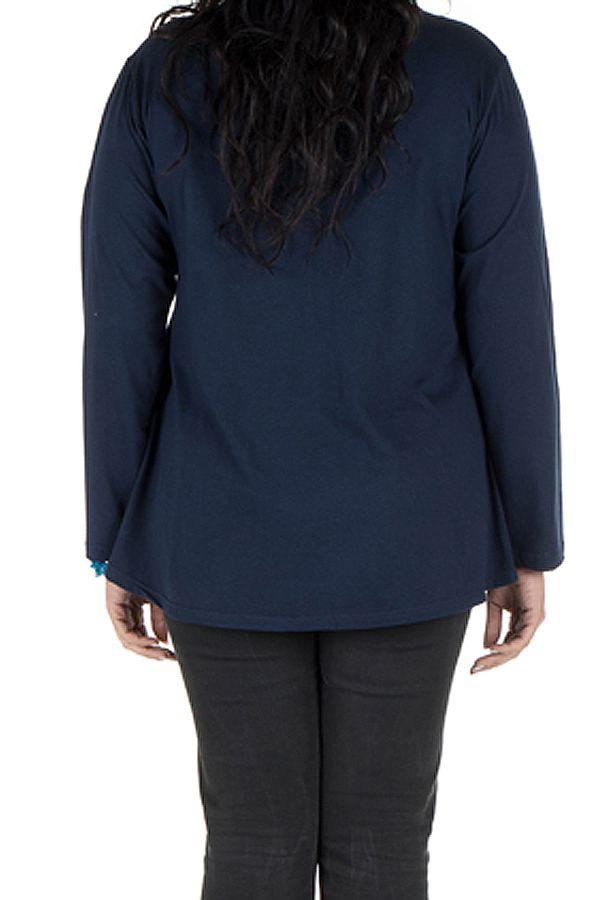 Tunique grande taille Bleue à manches longues sobre et élégante avec col rond Bouma 299974