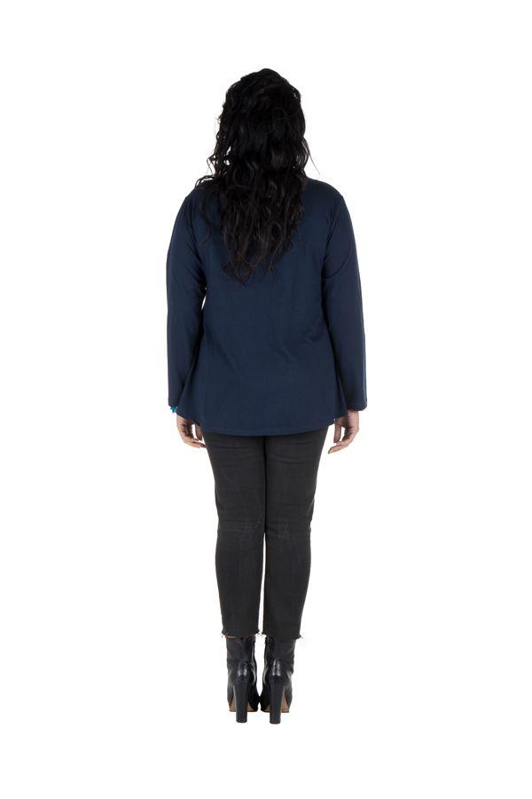 Tunique grande taille Bleue à manches longues sobre et élégante avec col rond Bouma