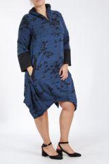Tunique grande taille bleue bien chaude pour l'hiver Camille 305284