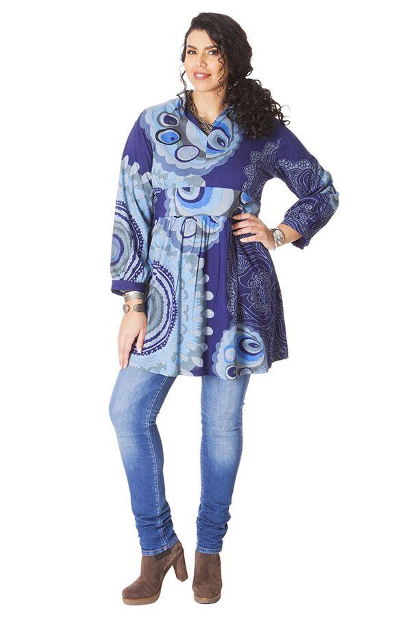 Tunique Grande taille Bleue Imprimée à col Mao Fabienne 286587