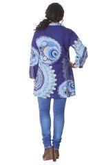 Tunique Grande taille Bleue Imprimée à col Mao Fabienne 286588