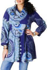 Tunique Grande taille Bleue Imprimée à col Mao Fabienne 286718