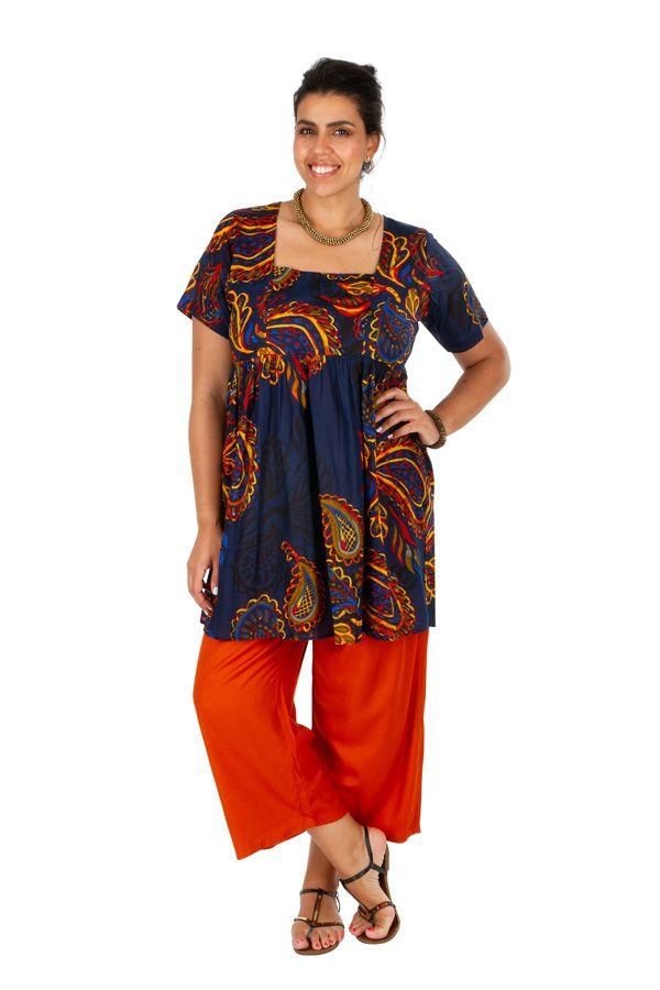 Tunique grande taille col carré motif ethnique Julia