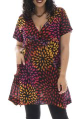 Tunique grande taille colorée avec col cache coeur Bertille 295293