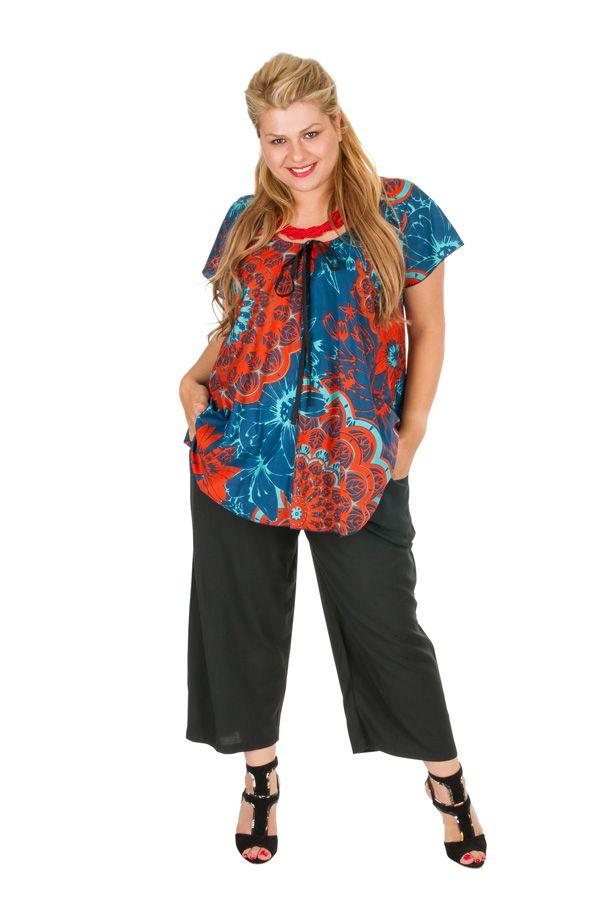 Tunique grande taille colorée avec un imprimé de fleurs Sofie 306422