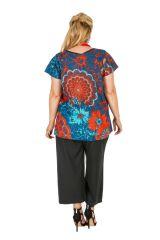 Tunique grande taille colorée avec un imprimé de fleurs Sofie 306423
