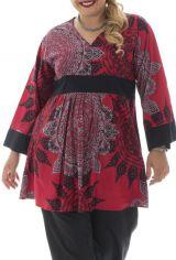 tunique grande taille coupe empire avec manches kimono rouge Alix 313132