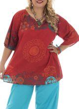 Tunique grande taille estivale et imprimée orange Lilou 295757