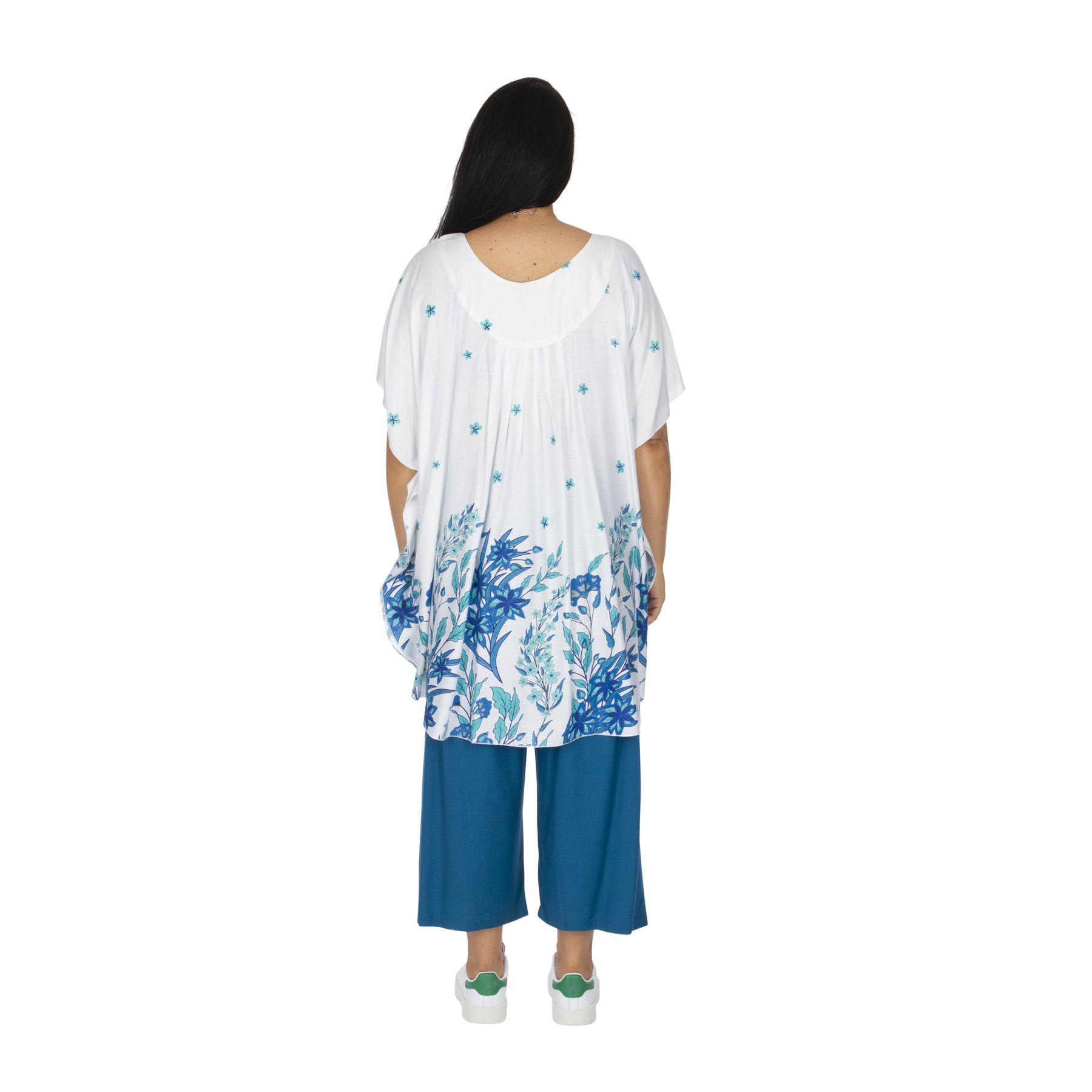 Tunique grande taille été femme blanche à fleurs Brandisa
