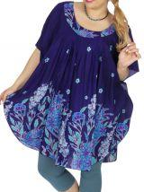 Tunique grande taille été femme bleue à fleurs Brandisy