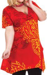 Tunique grande taille été originale et colorée Aksoum rouge 284595