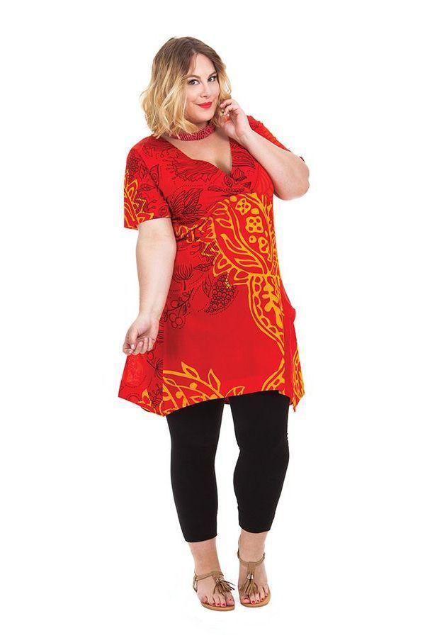 Tunique grande taille été originale et colorée Aksoum rouge 284596
