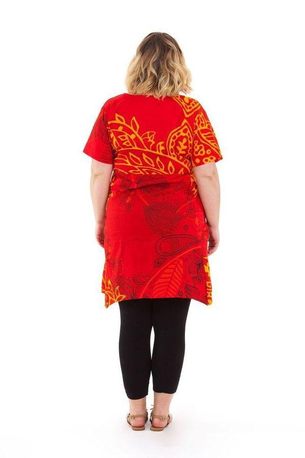 Tunique grande taille été originale et colorée Aksoum rouge 284597