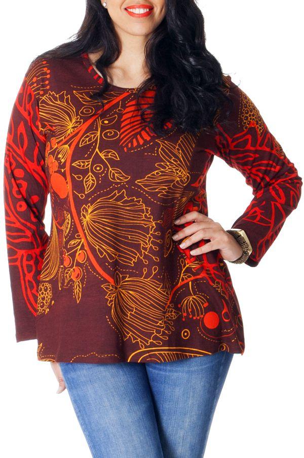 Tunique Grande taille Ethnique et Originale Baila Chocolat 286746