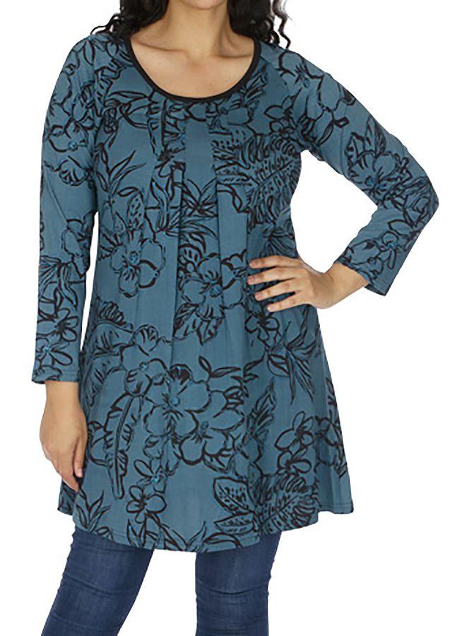 Tunique grande taille femme chic ethnique bleue Chamie 313792