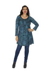 Tunique grande taille femme chic ethnique bleue Chamie 313794