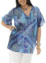 Tunique grande taille fluide à manches courtes bleue Katness 292334