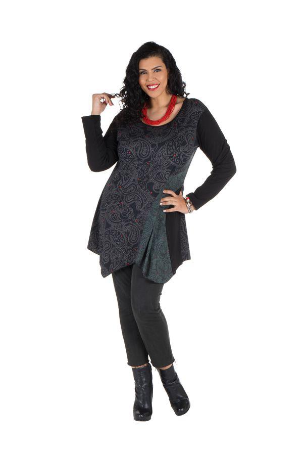 Tunique grande taille Grise asymétrique et imprimée arabesque Haize 301821