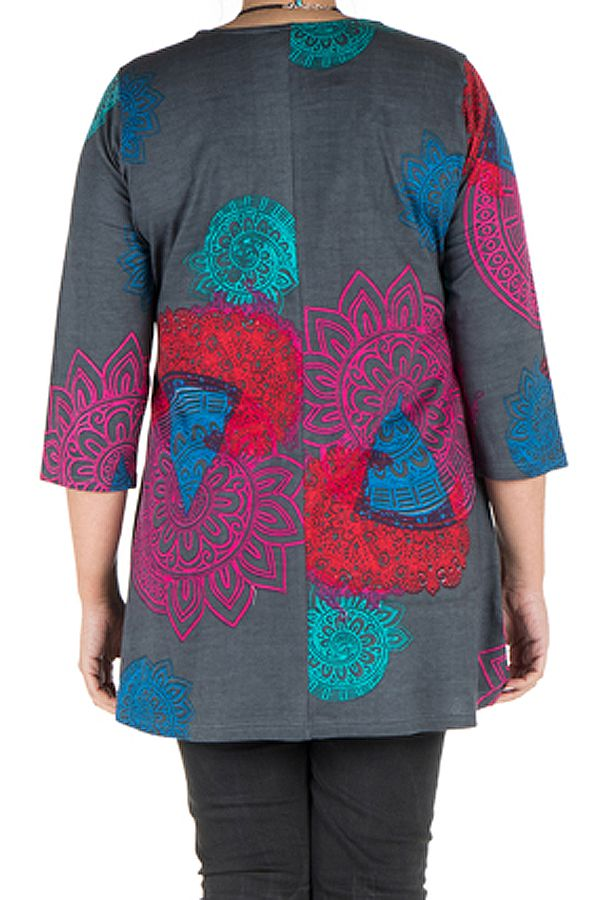Tunique grande taille Grise avec imprimés colorés et manches trois quarts Garance 300402