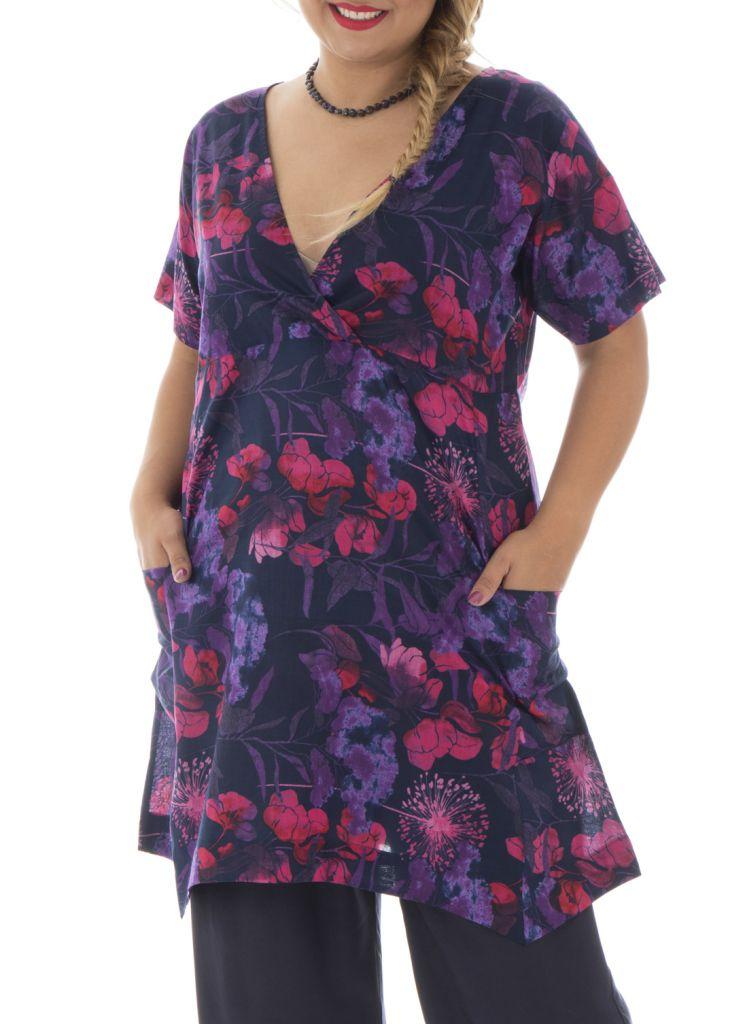 tunique grande taille imprim boh me violette bertille. Black Bedroom Furniture Sets. Home Design Ideas