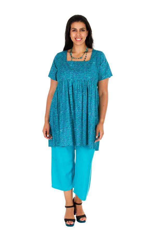 Tunique grande taille imprimée bleue ciel en coton Olivia