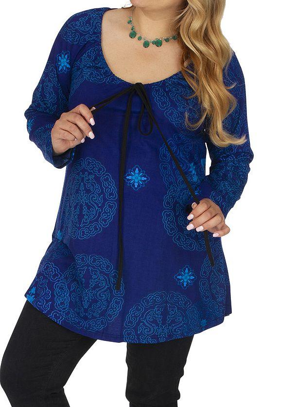 Tunique grande taille imprimée et colorée Saida bleue 313473