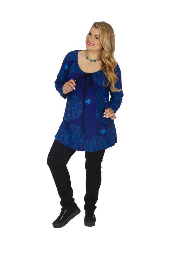 Tunique grande taille imprimée et colorée Saida bleue 313474