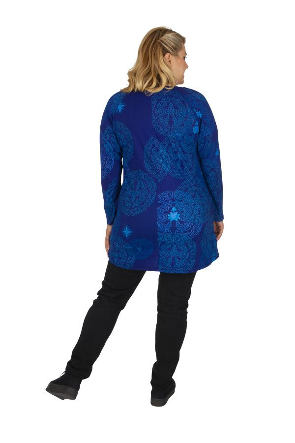 Tunique grande taille imprimée et colorée Saida bleue 313475