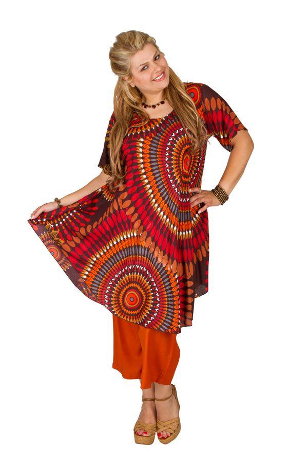 Tunique grande taille longue originale manches courtes Anahi 306442