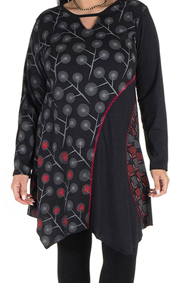 Tunique grande taille Noire à manches longues avec col style Mao et imprimés originaux Jane 300071