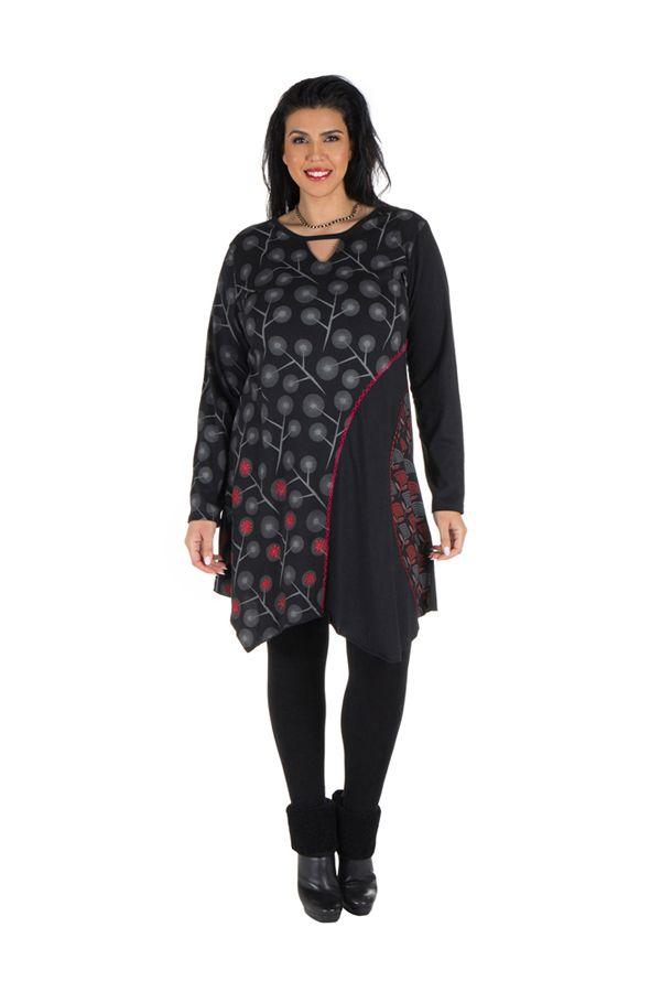 Tunique grande taille Noire à manches longues avec col style Mao et imprimés originaux Jane 300072