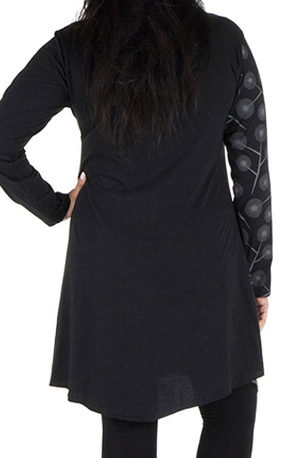 Tunique grande taille Noire à manches longues avec col style Mao et imprimés originaux Jane 300073
