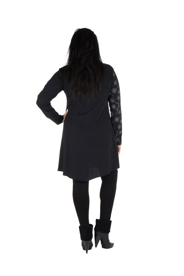 Tunique grande taille Noire à manches longues avec col style Mao et imprimés originaux Jane