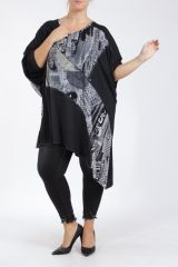 Tunique grande taille noire à manches longues Bohy 305270