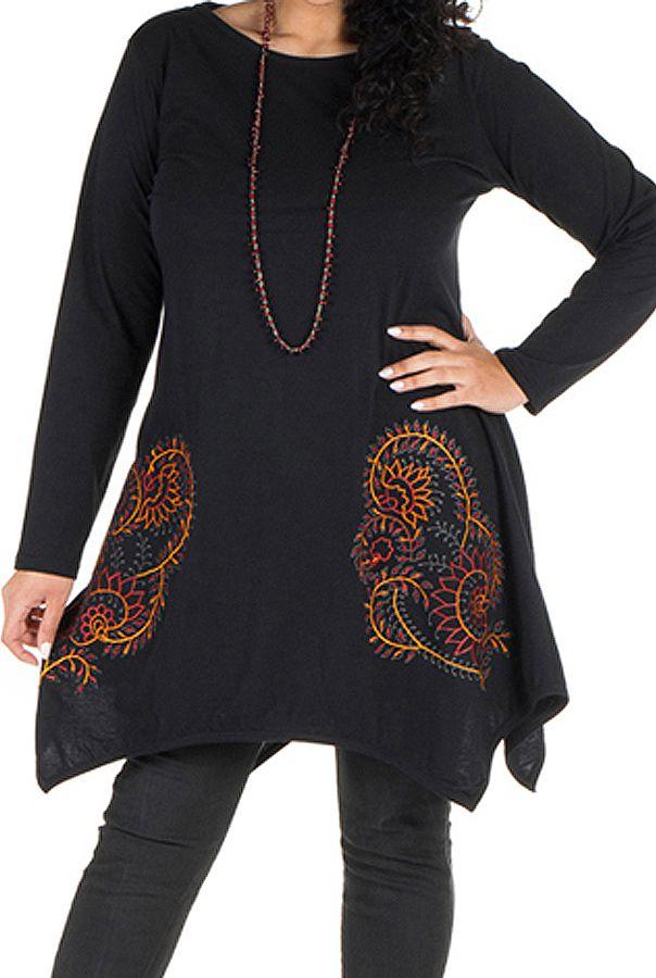 Tunique grande taille Noire à manches longues et col rond originale Deva 300061