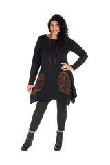 Tunique grande taille Noire à manches longues et col rond originale Deva 300062