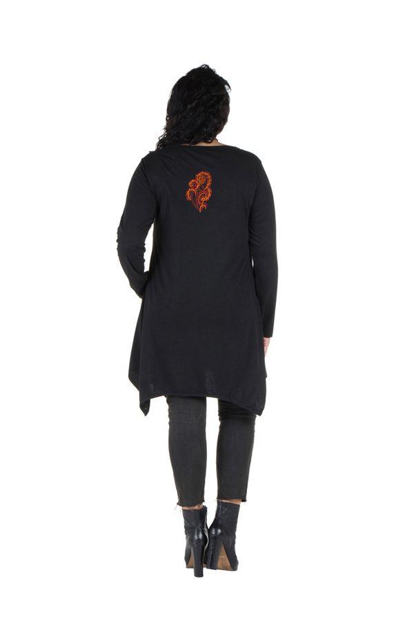 Tunique grande taille Noire à manches longues et col rond originale Deva